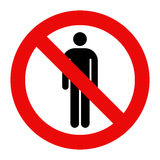 No people allowed. No man sign Stock Image