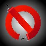No permitir el signl del cepillo del rodillo de pintura ilustración del vector