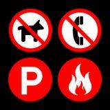 No permitir y los iconos no fijan grande para ningún uso Vector eps10 Foto de archivo
