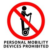 No personal mobility devices, prohibited sign. Man riding self-b. Alancing transportation device icon in red crossed circle Stock Images