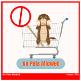 No Pet Allowed. Graphic vector dog and stop post in  shopping cart Royalty Free Stock Images