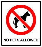 No pet allowed sign illustration vector no dogs, please, warning sticker for public places isolated on white red circle. No pet allowed sign illustration vector Royalty Free Stock Photo