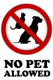No pet allowed sign. On white background Stock Image