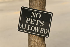 No Pets Allowed. Sign restricting the presence of pets in the area Royalty Free Stock Photography