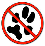 No pets allowed. Paw print with not allowed symbol - no pets allowed - vector Stock Image