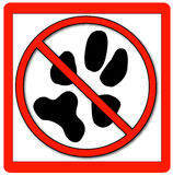 No pets allowed. Signage with red border - vector Stock Images