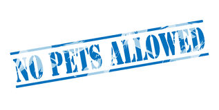 No pets allowed blue stamp. Isolated on white background Stock Photos