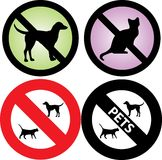 No Pets Allowed Sign. Vector Illustration of four Pets Signs. See my others in this series