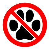 No pets allowed sign. Black cat or dog paw footprint in red crossed circle symbol. No pets allowed sign. Black cat or dog paw footprint in red crossed circle vector illustration