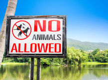 No pets allowed sign on gate in the park Royalty Free Stock Photos