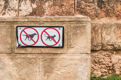 No Pets Allowed Signs on Old Textured Wall Royalty Free Stock Images