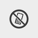 No phone icon in a flat design in black color. Vector illustration eps10 Stock Photography