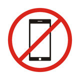 No phone sign. No talking by phone sign. Red prohibition. Vector Royalty Free Stock Images