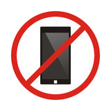 No phone sign. No talking by phone sign. Red prohibition. Vector. Illustration. Red no call symbol. No talk by phone icon. No Cell Phone Royalty Free Stock Photo