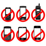 No phone  sign set Stock Photos