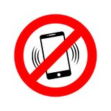 NO phone sign. Vector illustration. NO cell phone. Do not use your phone Stock Images