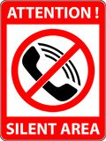 No phone, telephone prohibited symbol. Vector. Stock Images
