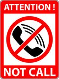 No phone, telephone prohibited symbol. Vector. Royalty Free Stock Photography