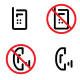 No phones sign. No forbidden phones sign, red and black Royalty Free Stock Images