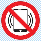 No phones sign. Cellphones not allowed sign. No phones, round red vector sign. Cellphones not allowed sign Vector Illustration