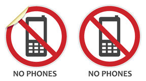No Phones Sign. S in two vector styles depicting banned activities Vector Illustration