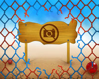 No photo capture allowed symbol on wooden and broken red and blue net Royalty Free Stock Photo
