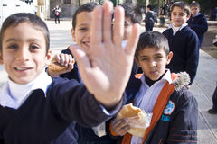 No Photo sign by Muslim schoolchildren Stock Photo