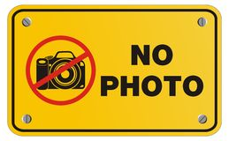 No photo yellow sign - rectangle sign Royalty Free Stock Photos