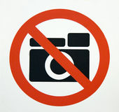 No Photography???. Posted universal 'no photography' sign Stock Image