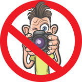 No photography allowed sign with cartoon photographer character. Vector illustration of No photography allowed sign with cartoon photographer character Stock Image