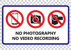 No photography and no video recording signboard. Vector illustration stock illustration