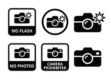No photos, no cameras, no flash icons Stock Photo
