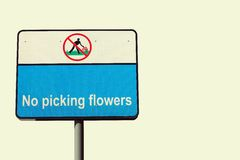 No Picking Flowers Royalty Free Stock Photos