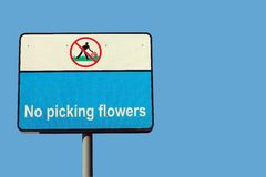 No Picking Flowers Stock Image