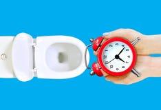 No pierda su consejo del tiempo La muchacha va a lanzar el despertador en el retrete Perder concepto del tiempo fotografía de archivo