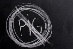 No pig sign drawn on blackboard with chalk Royalty Free Stock Photo