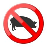 No pig traffic sign. Vector icon Royalty Free Stock Photography