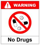 No pills sign, isolated on white background,  illustration isolated on white background. No drugs icon. Red warning prohibit Royalty Free Stock Photos