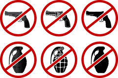 No pistols and grenades Royalty Free Stock Photography
