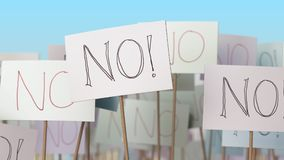 NO placards at street demonstration. Conceptual 3D rendering Stock Photography