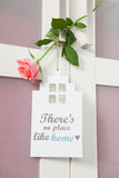 No place like home. Interior with sign no place like home and pink rose royalty free stock image