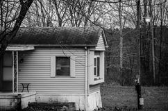No Place like Home. A modular home on a snowy Thanksgiving morning in Ohio royalty free stock images