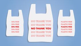 No plastic bag. Say no thank you icon. Refuse from polythene package sign. BPA Free. Editable Vector illustration