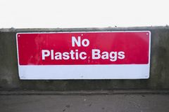 No plastic bags sign at recycle plant help to save the environment Royalty Free Stock Image