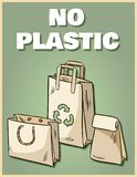 No plastic paper bags poster. Motivational phrase. Ecological and zero-waste product. Go green living vector illustration
