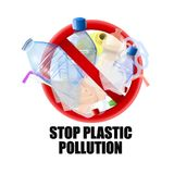 No plastic signal. Protest against plastic garbage. Vector image royalty free illustration