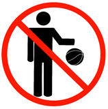 No playing allowed. Stick figure bouncing ball with not allowed symbol - no playing allowed - vector Royalty Free Stock Photography