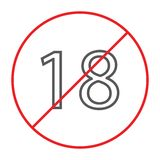 No 18 plus thin line icon, prohibited and ban, age restriction sign, vector graphics, a linear pattern on a white stock illustration