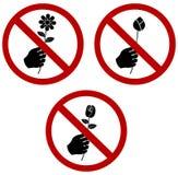 No Podnosi kwiatu znaka cellection setu lub no daje Zdjęcia Stock