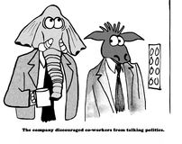 No Political Talk. Business cartoon about a company that discourages coworkers from talking politics at work Stock Photo